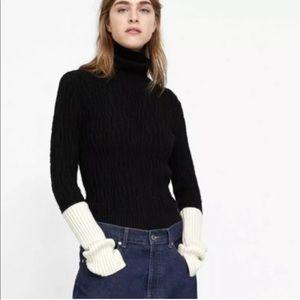 Zara Knit Womens Color Block Turtleneck Sweater